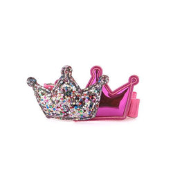 GIRLS FUCHSIA GLITTER CROWN HAIR CLIP - ruffntumblekids