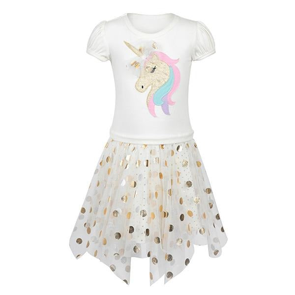 GOLD UNICORN APPLIQUE DRESS