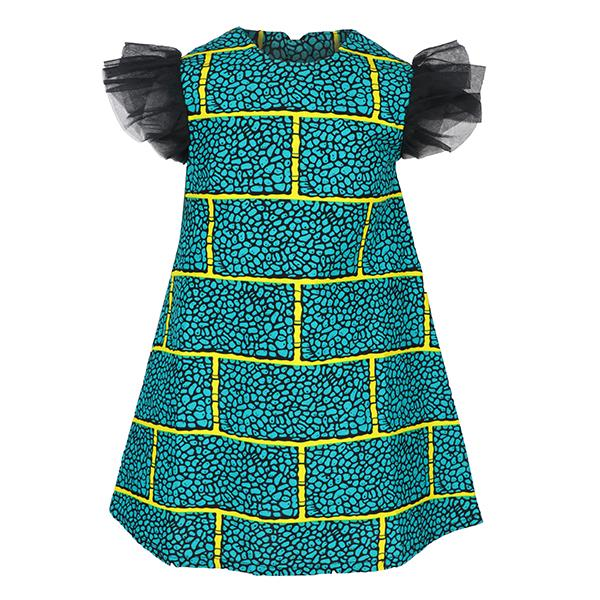 GREEN ANKARA A-LINE DRESS