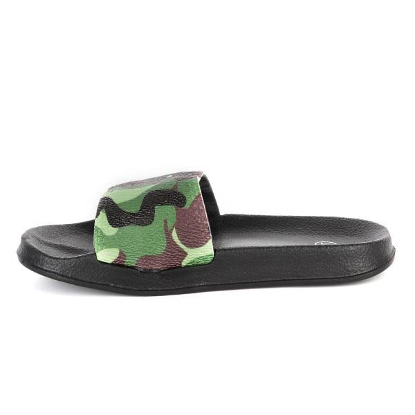Green Camo Slider Slippers_Ruffntumble