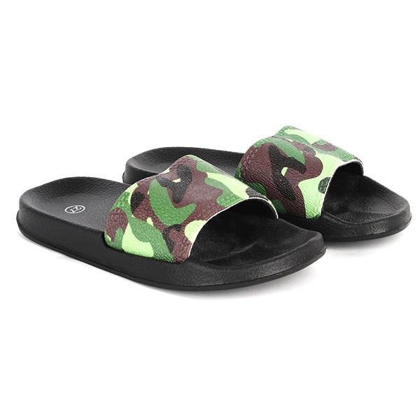 GREEN CAMO SLIDER SLIPPERS
