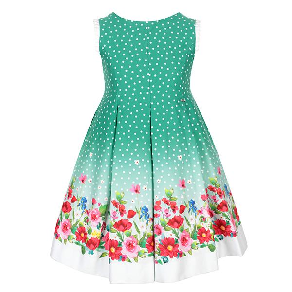 GREEN SLEEVELESS FLORAL  DRESS
