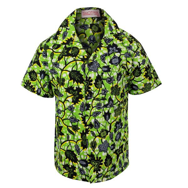 GREEN ANKARA PRINT SHIRT