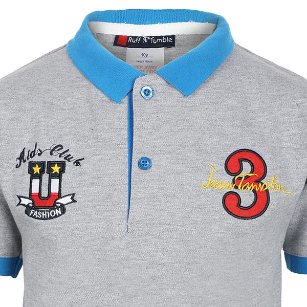 BOYS GREY EMBROIDERED POLO