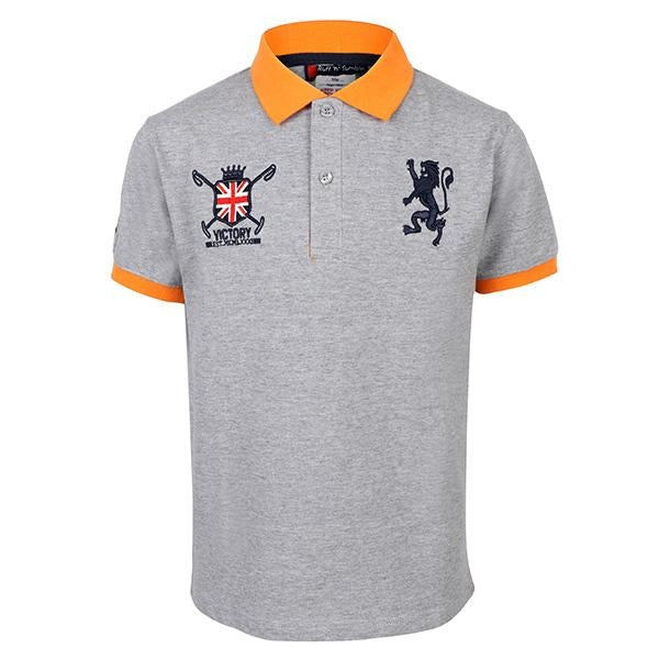 Grey Embroidered Polo