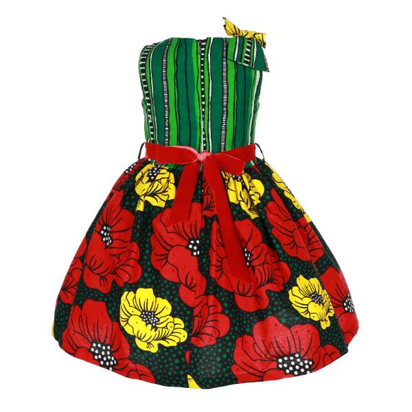 Girls Green Mixed Print Ankara Dress