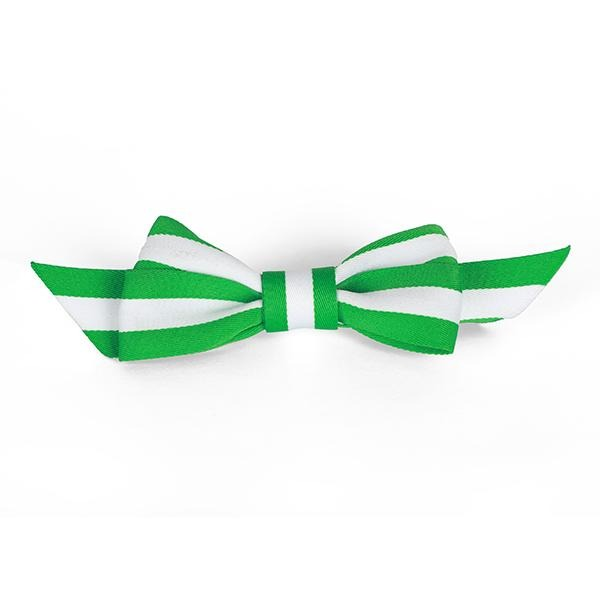 GIRLS GREEN AND WHITE KNOT CLIP HAIR BOW - ruffntumblekids