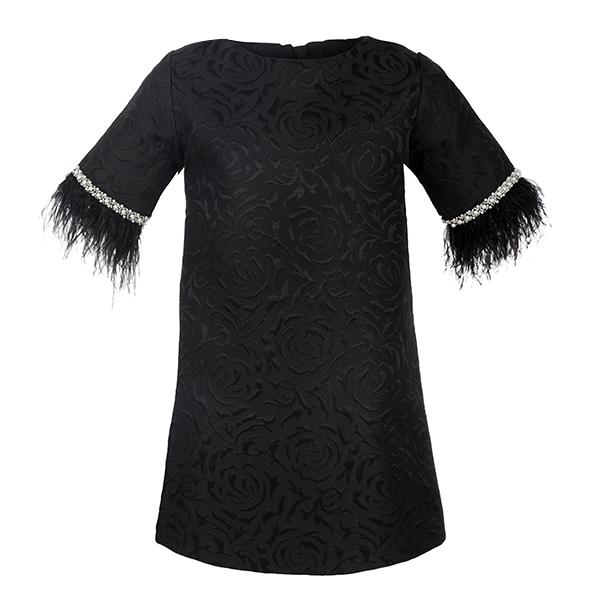 Girls Black Embellished Damask Shift Dress