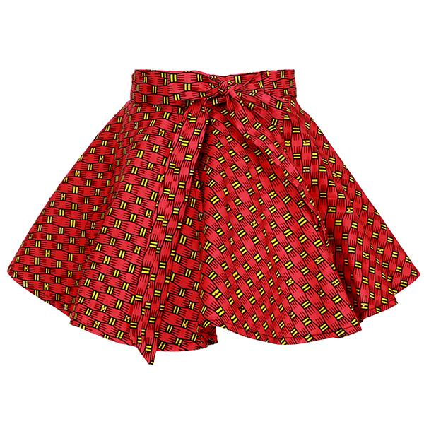Girls Red Ankara Print Flare Skirt
