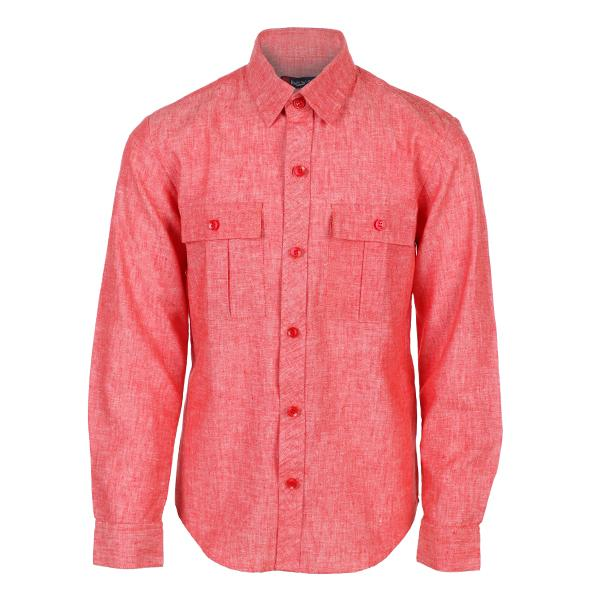 Boys Red Double Pocket Solid Linen Shirt