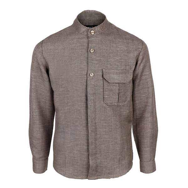 Brown Nehru long sleeve shirt-ruffntumble