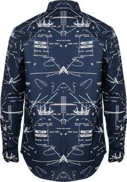 BOYS LONG SLEEVE PRINT SHIRT -  DARK NAVY - ruffntumblekids