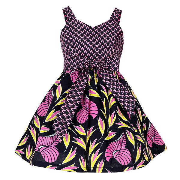 GIRLS MULTI-COLOR ANKARA DRESS WITH JACKET