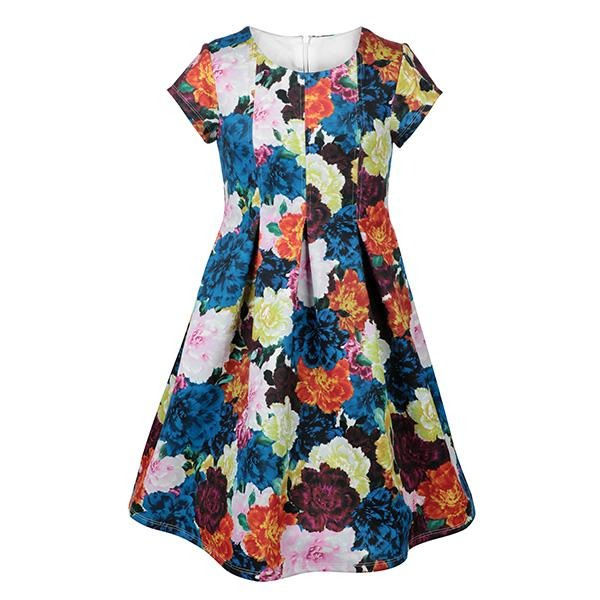 MULTICOLOR FLORAL SCUBA DRESS - ruffntumblekids
