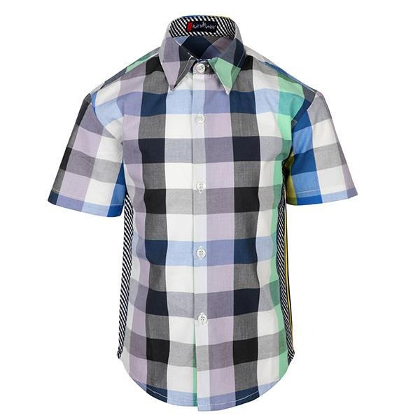 multi color checkered short sleeve shirt-ruffntumble