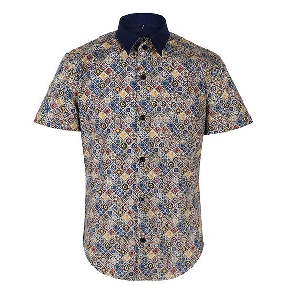 multi color print short sleeve shirt-ruffntumble