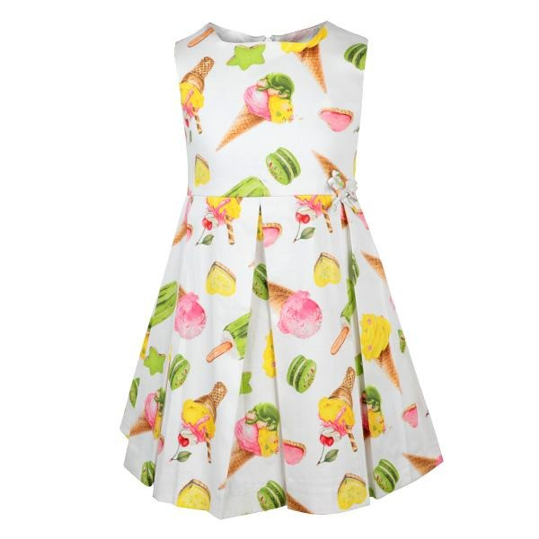 MULTI ICE CREAM SATIN DRESS