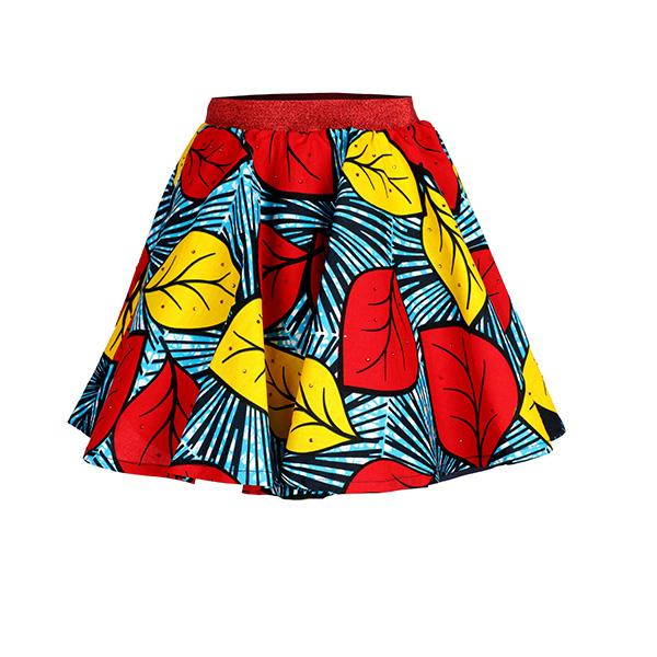 multi-colored leaf Ankara print skirt_ruffntumblekids