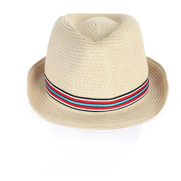 MULTI STRIPED TAPE FEDORA HAT
