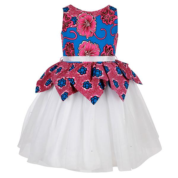 Girls Multicolour Ankara Peplum Top Ball Dress