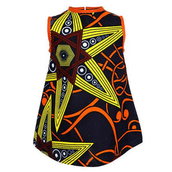 NAVY BLUE/ORANGE A-LINE ANKARA DRESS - ruffntumblekids