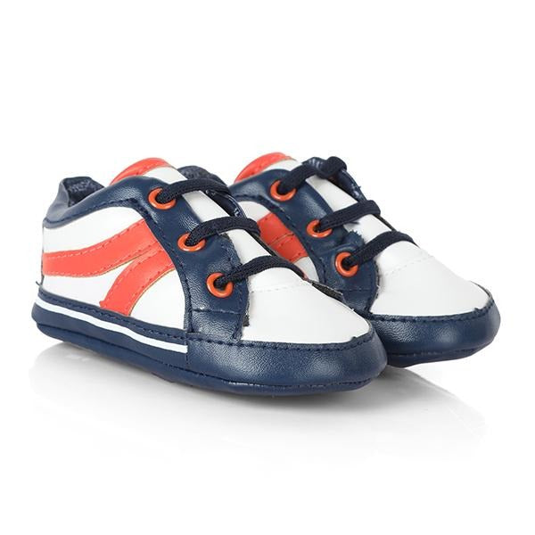 NAVY/ORANGE BABY TRAINERS - ruffntumblekids