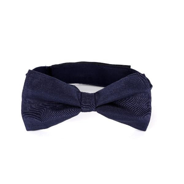 NAVY BLUE  RAW SILK BOW TIE
