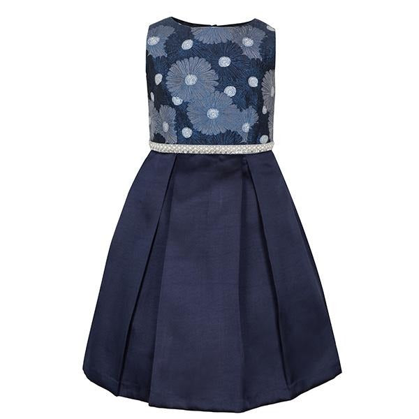 NAVY DAMASK TOP BALL DRESS