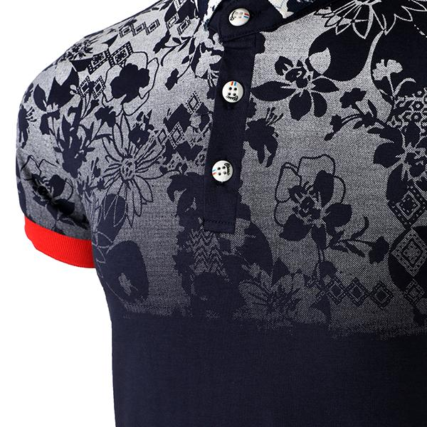 BOYS NAVY BLUE FLORAL PRINT POLO