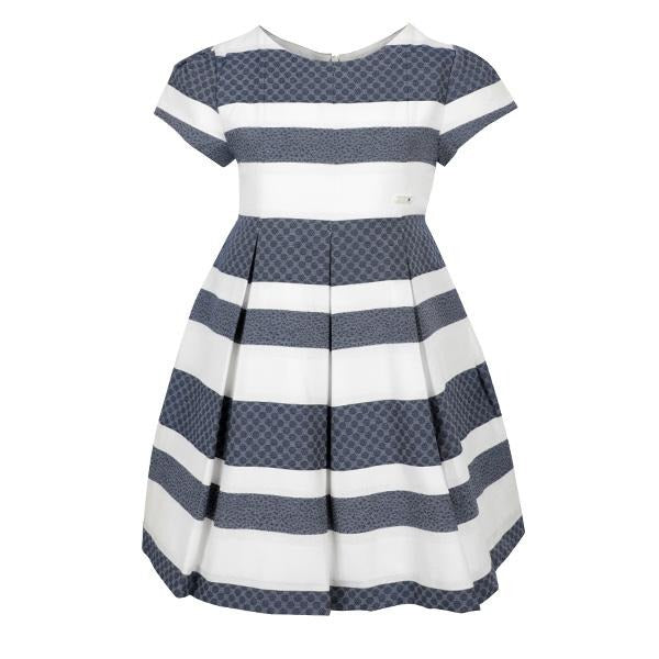 NAVY JACQUARD STRIPED DRESS - ruffntumblekids