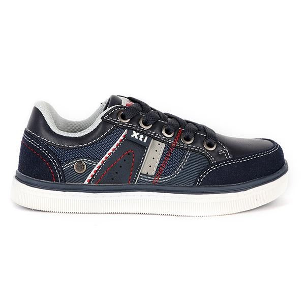 BOYS NAVY BLUE LACE UP CASUAL SNEAKERS