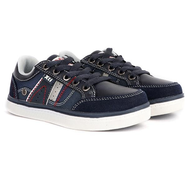 BOYS NAVY LACE UP CASUAL SNEAKERS