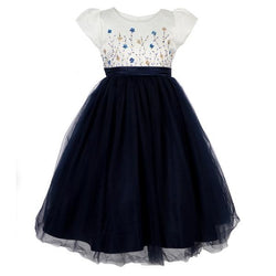 Girls  navy embellished ball dress _ruffntumblekids