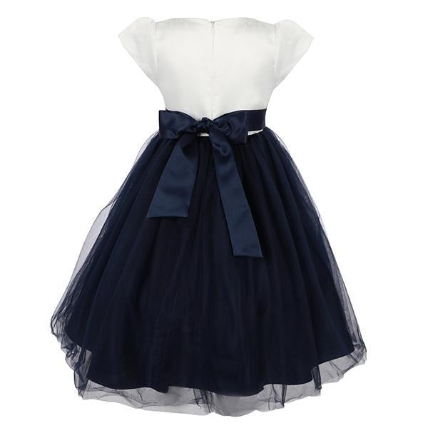 GIRLS NAVY EMBELLISHED BALL DRESS