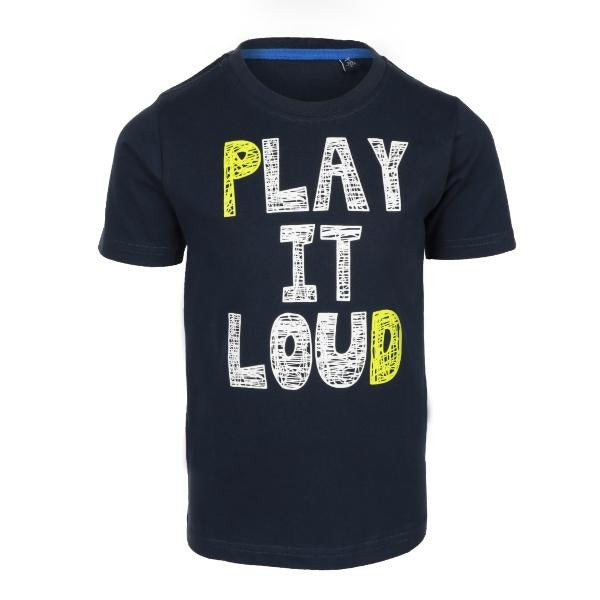 Boys Navy Lettering Cotton T-shirt