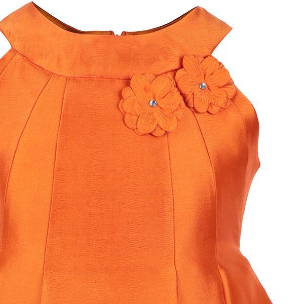 Orange Pleated Taffeta Dress