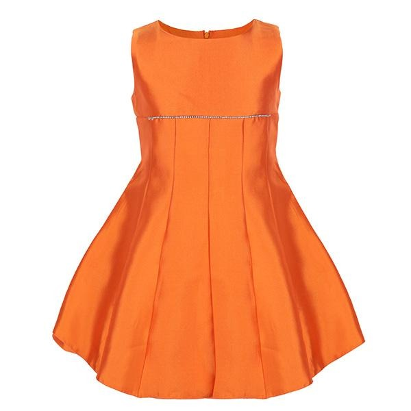 ORANGE FIT AND FLARE DRESS - ruffntumblekids