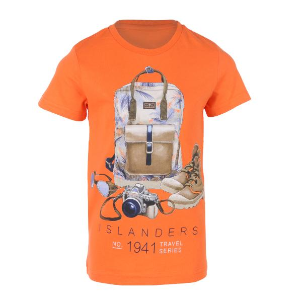 orange short sleeve T-shirt-ruffntumble