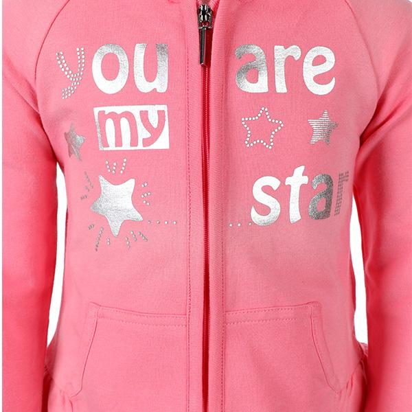 Girls Pink Fleece Hoodie Jacket