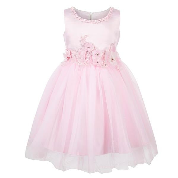 PINK PEARL NECKLINE BALL DRESS - ruffntumblekids