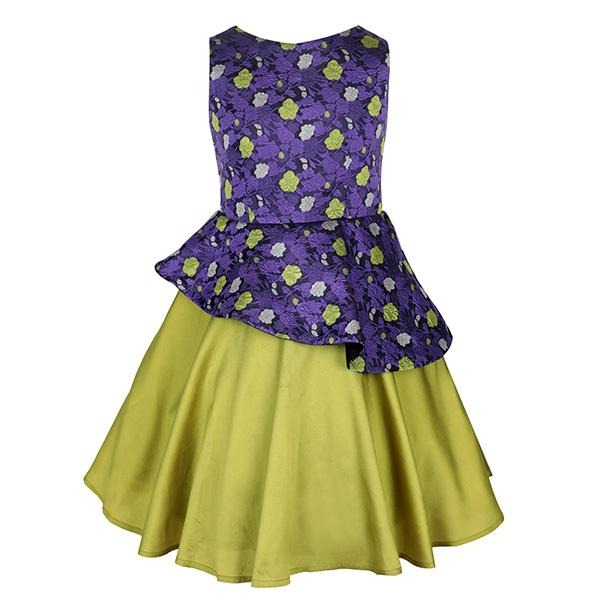 PURPLE/LIME PEPLUM BALL DRESS