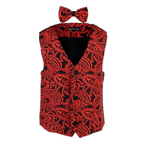 BOYS RED/BLACK WAISTCOAT AND TIE - ruffntumblekids
