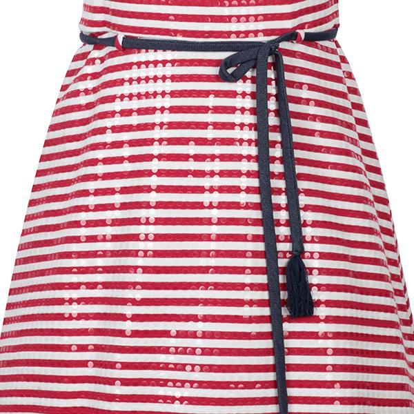 RED/WHITE STRIPED SKATER DRESS - ruffntumblekids
