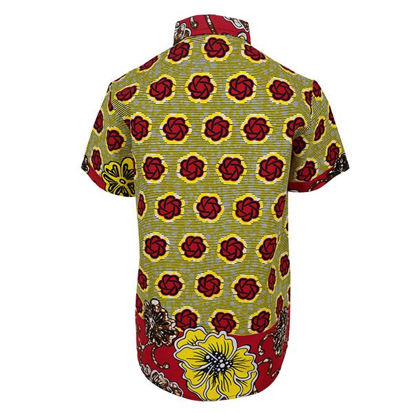 BOYS RED/YELLOW ANKARA PRINT SHIRT - ruffntumblekids