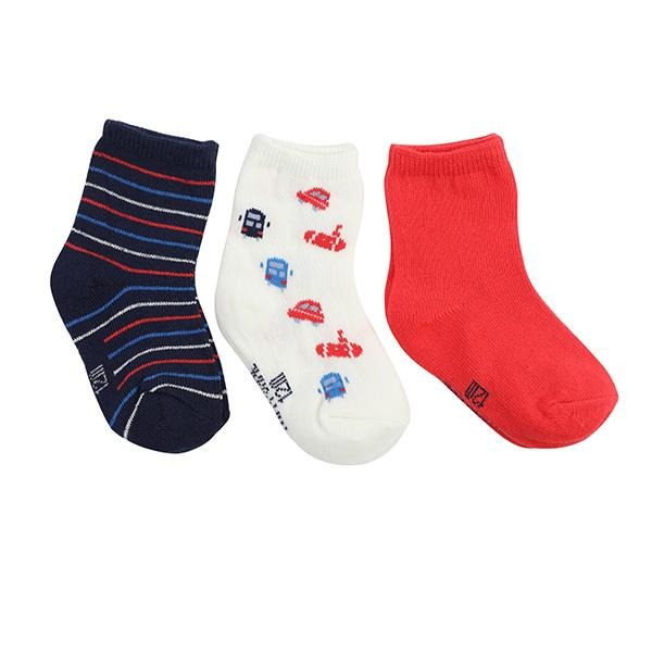 BOYS RED 3 PIECE SOCKS SET - ruffntumblekids