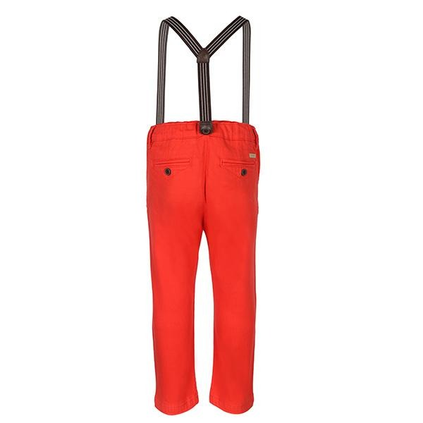 BOYS RED CHINOS TROUSER AND SUSPENDER