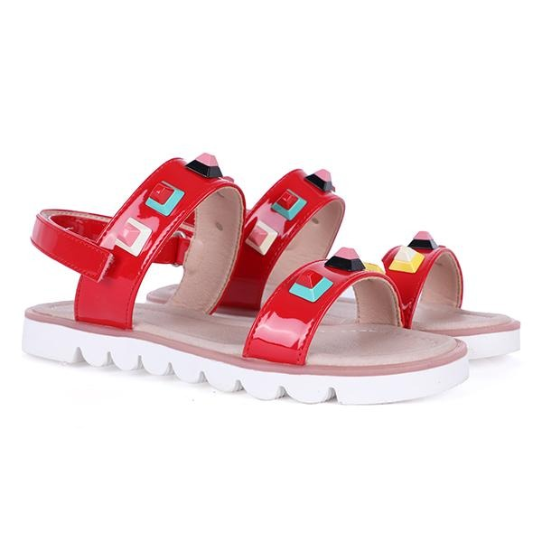 RED FENDI DESIGN SANDALS