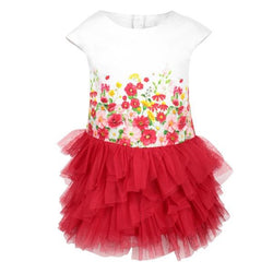 RED FLORAL TULLE BORDER DRESS