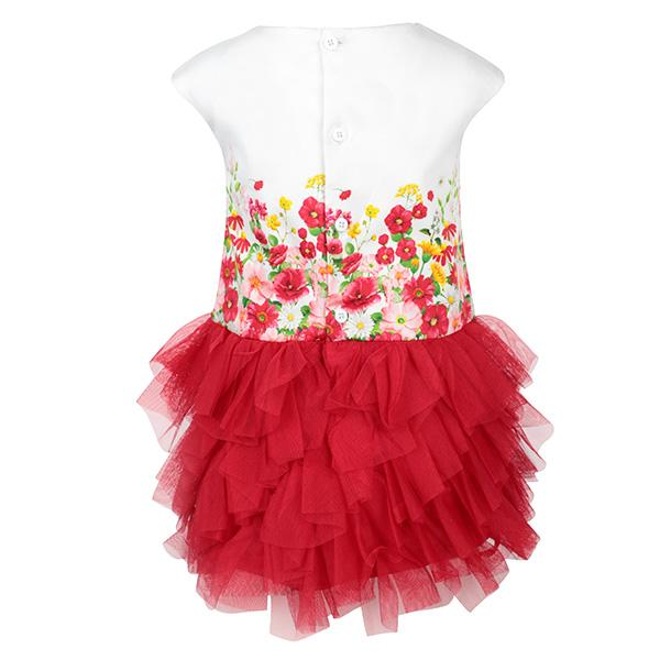 RED FLORAL TULLE BORDER DRESS - ruffntumblekids