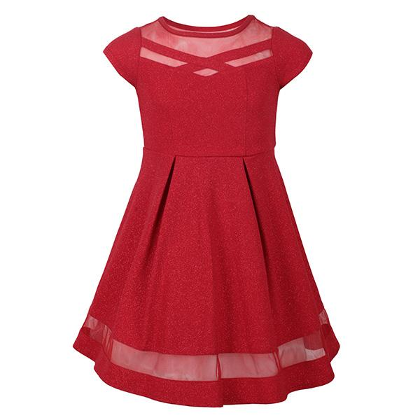RED GLITTER KNIT SKATER DRESS